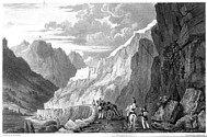 Illustrations of the Passes of the Alps, Brockedon : le fort de Fenestrelle
