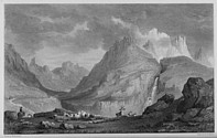 Illustrations of the Passes of the Alps, Brockedon : vue depuis l'ancienne route du Lautaret
