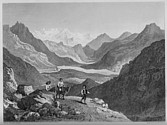 Illustrations of the Passes of the Alps, Brockedon : Mont-Dauphin et le massif du Pelvoux, depuis le col de Vars